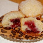 SUGARED DOUGHNUT MUFFINS FILLED WITH RASPBERRY PRESERVES