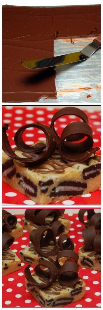 white chocolate oreo brownies with chocolate curls