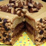 REESE'S OVERLOAD CAKE-2 PEANUT BUTTER BLONDIE LAYERS, 1 CHOCOLATE CHEESECAKE LAYER FILLED WITH AN INTENSE CHOCOLATE FROSTING, TOPPED WITH PB FROSTING