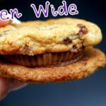 SEA SALT CHOCOLATE CHIP COOKIES SANDWICHED WITH PEANUT BUTTER CUPS