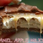 CARAMEL APPLE MILKYWAY CHEESECAKE BARS WITH DARK CHOCOLATE GANACHE