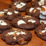 REESE'S WHITE PEANUT BUTTER CUPS BAKED INTO THICK, CHOCOLATE COOKIES!