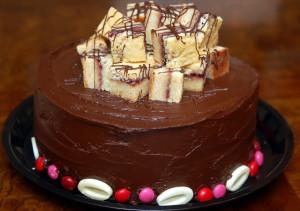 QUADRUPLE LAYER CHOCOLATE RASPBERRY CAKE & CHEESECAKE TOPPED WITH CHOCOLATE GANACHE FROSTNG & WHITE CHOCOLATE RASPBERRY BARS