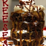 INDIVIDUAL WHITE REESE'S CHOCOLATE CAKE SUNDAES WITH SALTED CARAMEL