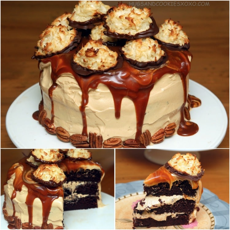 caramel and chocolate macaroon cake