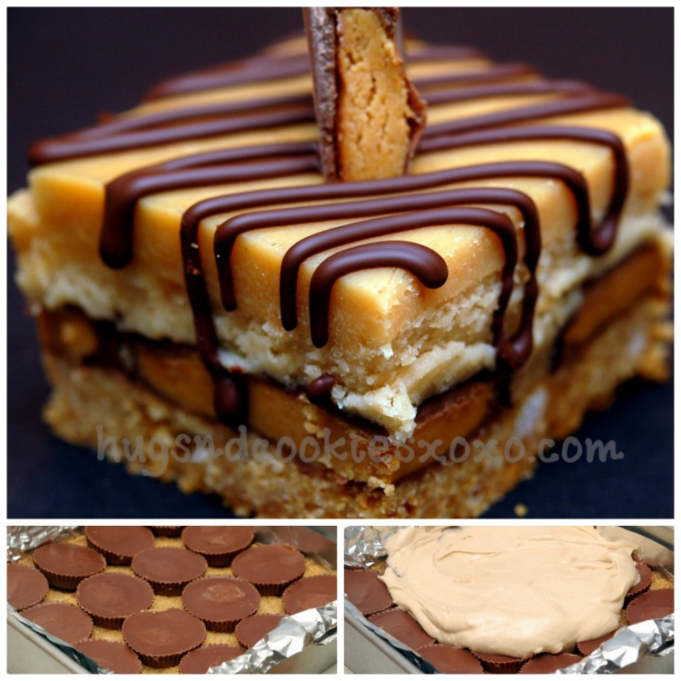 PEANUT BUTTER CHEESECAKE OVER PEANUT BUTTER CUPS SITTING ON A GRAHAM ...