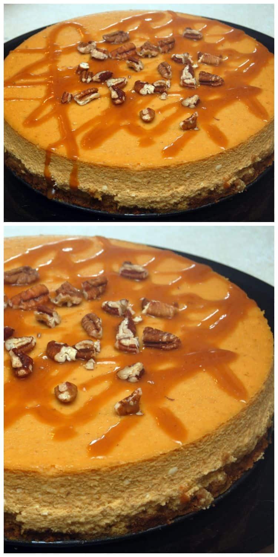 Pumpkin Cheesecake In Springform Pan With Cake Mix Crust