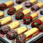 JAM SANDWICHED BUTTER COOKIES DIPPED IN CHOCOLATE & SPRINKLES!