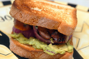 SANDWICH NIGHT!!!! SAUSAGE, GUACAMOLE & RED ONION ON TOASTED BREAD!