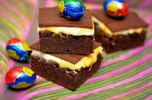 BROWNIES TOPPED WITH HOMEMADE CADBURY CREME FILLING & A MILK CHOCOLATE GLAZE