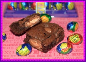 BROWNIES STUFFED WITH CADBURY CREME EGGS