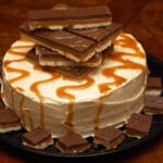 SALTED CARAMEL CHOCOLATE CAKE TOPPED WITH HOMEMADE TWIX BARS!!!!