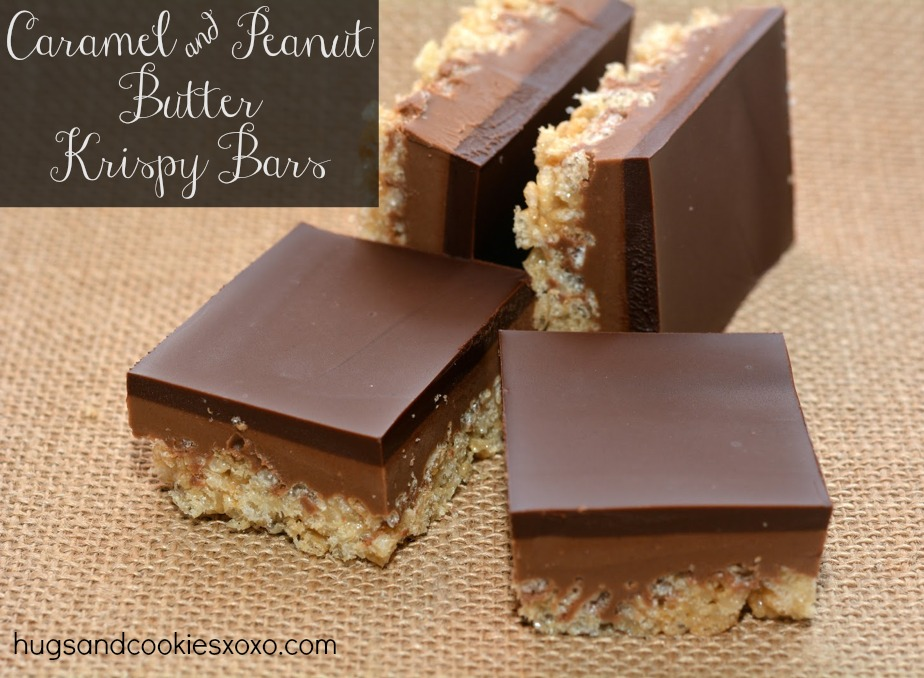 CARAMEL PEANUT BUTTER KRISPY BARS TOPPED WITH A THICK, CHOCOLATE GLAZE ...