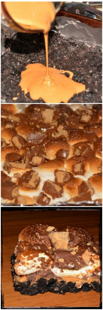 Triple Decker Peanut Butter Squares Recipe — Dishmaps