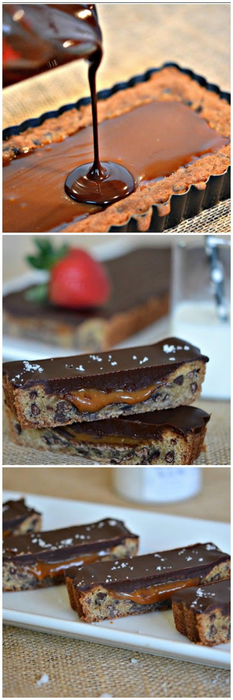 CHOCOLATE GLAZED, SALTED CARAMEL & CHOCOLATE CHIP COOKIE TART - Hugs ...