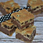 FUDGE & TOFFEE FILLED CHOCOLATE CHIP COOKIE BARS