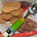 NUTTER BUTTER & PEANUT BUTTER FUDGE ICE CREAM SANDWICH POPS!