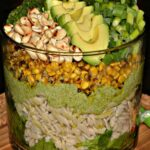 SAVORY TRIFLE-BROCCOLI PESTO, AVOCADO, PASTA, FIRE ROASTED CORN, TOASTED CASHEWS
