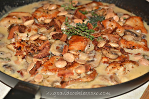 CHICKEN & MUSHROOMS IN AN ASIAGO CREAM SAUCE TOPPED WITH BACON & MARCONA ALMONDS! AHHHHHH-MAZING!