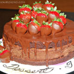 TRIPLE LAYER CHOCOLATE DIPPED STRAWBERRY CHEESECAKE