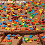 CHOCOLATE FROSTED BROWNIES WITH M & M'S