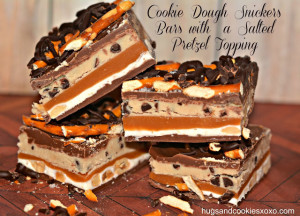 COOKIE DOUGH SNICKERS BARS WITH A SALTED PRETZEL TOPPING!!!