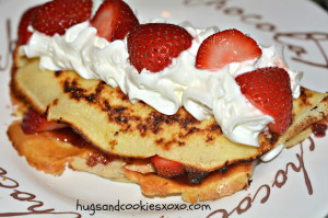 GLUTEN FREE CREPES STUFFED WITH STRAWBERRIES, JAM & WHIPPED CREAM