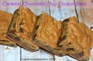 CARAMEL STUFFED CHOCOLATE CHIP COOKIE BARS