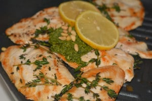 GRILLED CHICKEN TOPPED WITH THE MOST SCRUMPTIOUS PESTO!