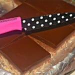 CARAMEL, PEANUT BUTTER KRISPY BARS TOPPED WITH THE BEST CHOCOLATE GLAZE!!!!
