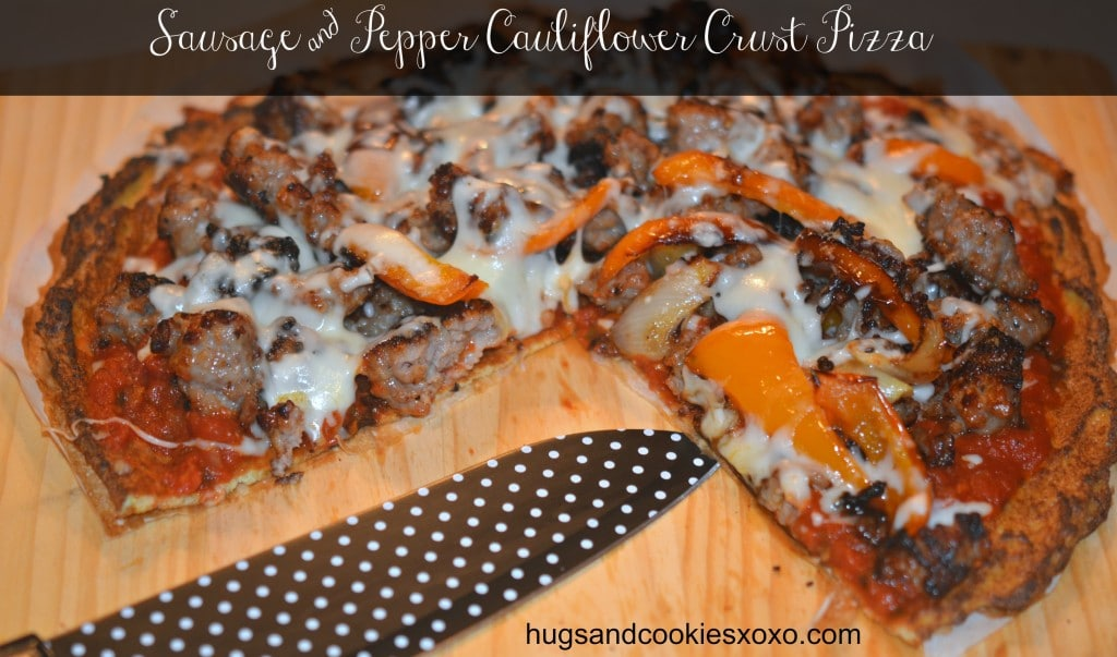 Cauliflower Pizza Crust with Sauage and Peppers