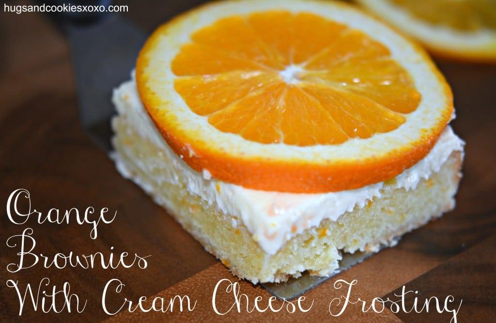 orange brownies with orange cream cheese frosting