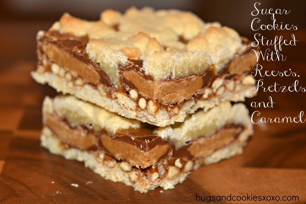 peanut butter cups, caramel and pretzel cookies