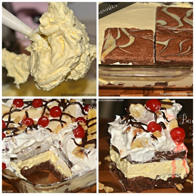 Banana Split Brownie Ice Box Cake