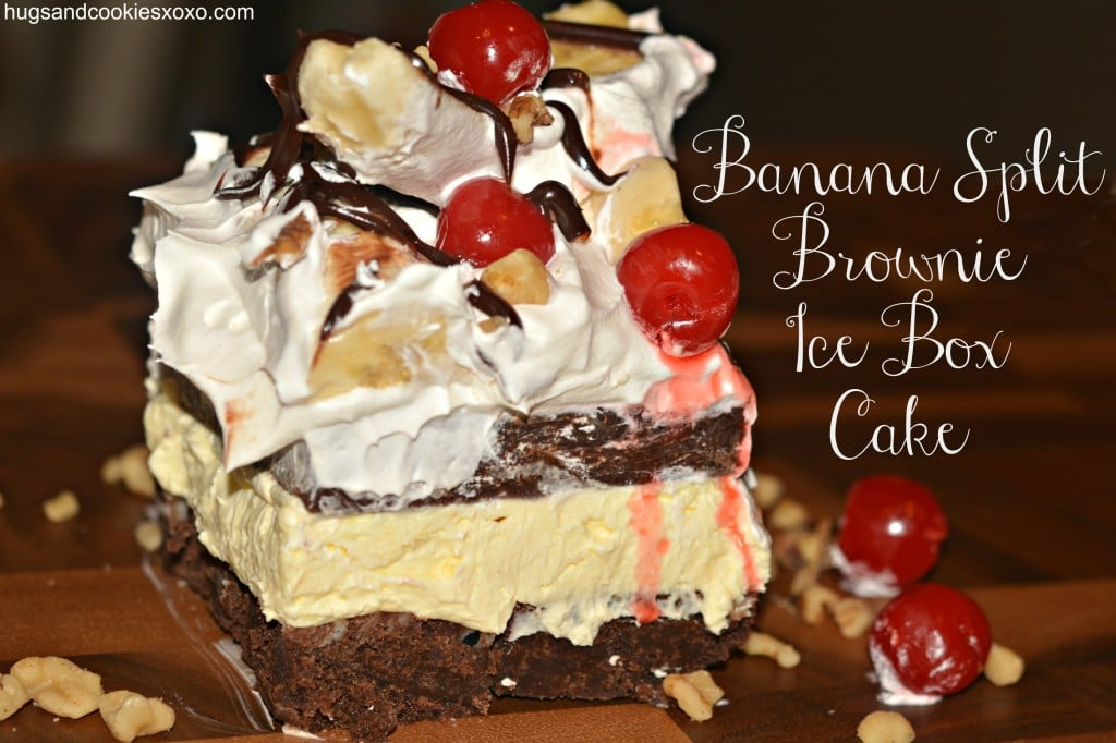 banana split brownie ice box cake