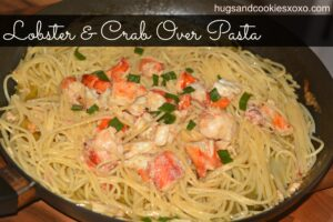 Lobster and Crab Over Pasta