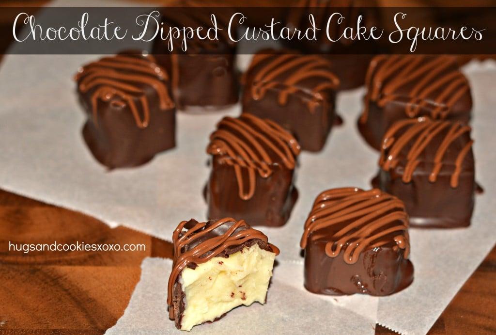 chocolate dipped magic custrad cake