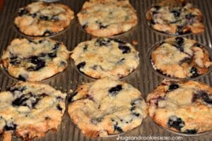 Bakery Style Blueberry Crumb Muffins