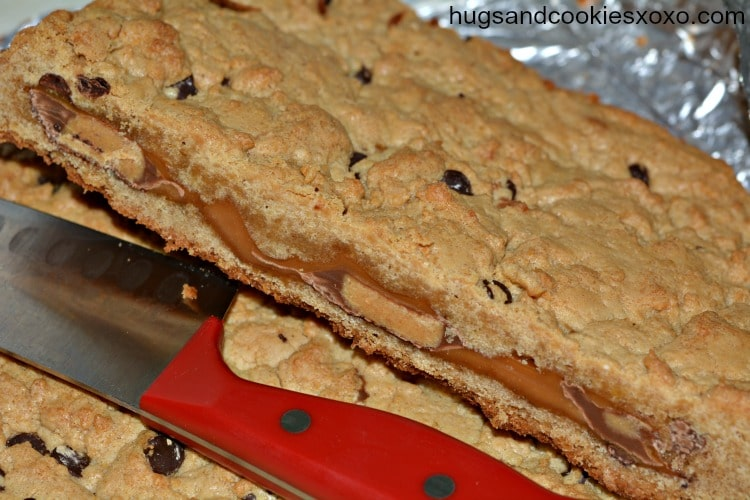Reese's and Caramel Stuffed Cookie Bars-adapted from That Skinny ...