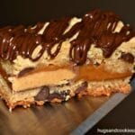 Reese's and Caramel Stuffed Cookie Bars