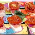 ROASTED TOMATOES, PROSCIUTTO, MOZZARELLA & RED ONION