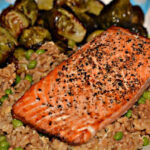 SALMON, FRIED RICE & BRUSSEL SPROUTS! YUM!