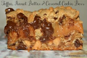Toffee, Peanut Butter and Caramel Cookie Bars