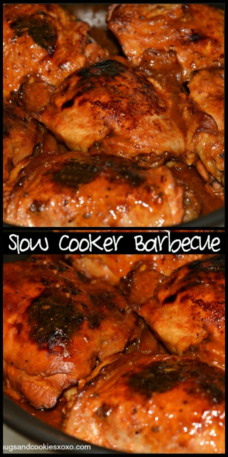 2 Ingredient Slow Cooker Barbecue Chicken - Hugs and ...