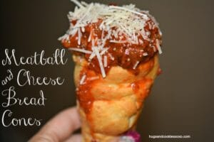 Bread Cones Stuffed With Meatballs & Cheese