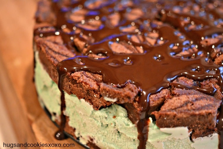 Mint Chocolate Chip Brownie Ice Cream Cake