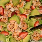 Shrimp, Avocado & Strawberries Over Zoodles