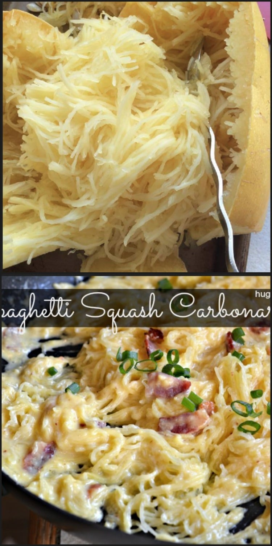 Spaghetti Squash Carbonara - Hugs and Cookies XOXO