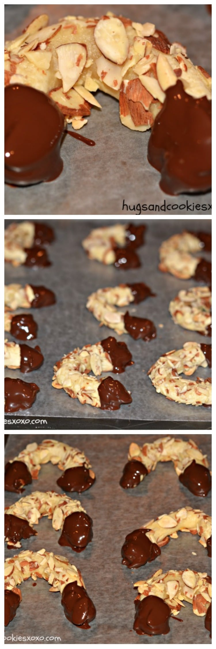 Chocolate Dipped Almond Horns - Hugs and Cookies XOXO