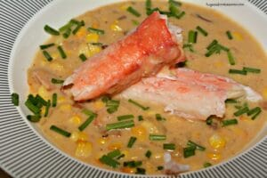Roasted Corn & Cheddar Chowder-Lightened Up With King Crab Legs
